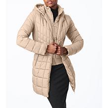 Bernardo EcoPlume Packable Hooded Walker Jacket with Bib
