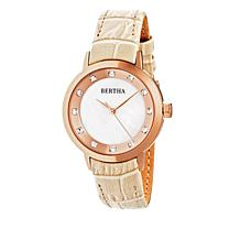 "Bertha Watches Women's ""Cecelia"" Crystal-Accented Leather Strap Watch"