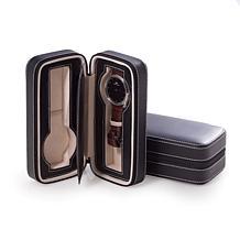 Bey-Berk Black Leather 2-Watch Travel Case
