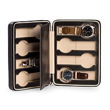 Bey-Berk Black Leather 8 Watch Storage and Travel Case