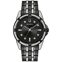 Bulova Black Stainless Steel Men's Watch and ID Bracelet Gift Set