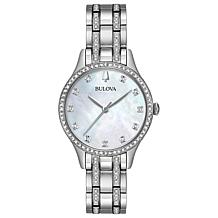 Bulova Crystal-Accented Silvertone Watch and 2-piece Bracelet Set