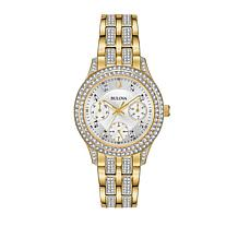 Bulova Goldtone Crystal Bezel and Bracelet Pavé Watch