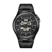 Bulova Men's Black Automatic Black Leather Strap Watch