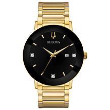 Bulova Men's Gold-Tone Bracelet with Black Diamond Dial Watch