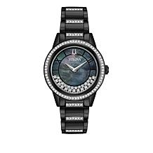 "Bulova ""TurnStyle"" Gunmetaltone Stainless Steel Floating Crystal Watch"