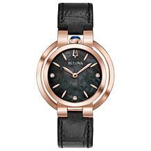 Bulova Women's Rubaiyat Diamond Black Leather Strap Watch