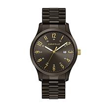 Caravelle Men's Black Stainless Steel Watch with Expansion Bracelet