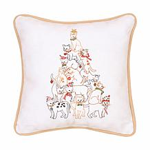 Cat Tree Embroidered Pillow