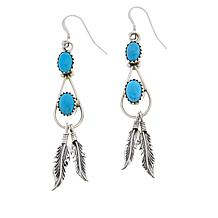 Chaco Canyon Double Sleeping Beauty Turquoise Feather Drop Earrings