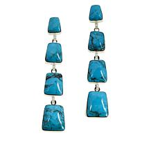 Chaco Canyon Sterling Silver Kingman Turquoise 4-Stone Drop Earrings