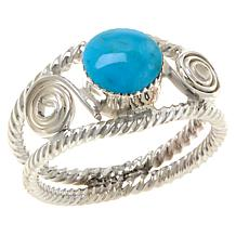 Chaco Canyon Sterling Silver Kingman Turquoise Double Rope Ring