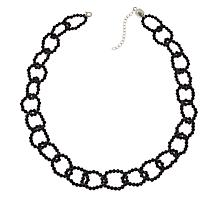 "Colleen Lopez 18"" Black Spinel Link Necklace with Magnetic Clasp"