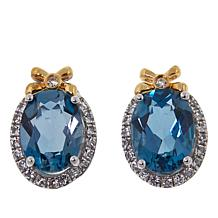"""Colleen Lopez 2.72ctw London Blue Topaz and White Topaz """"Bow"""" Earrings"""