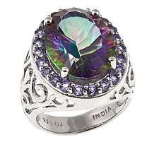 Colleen Lopez 8.70ctw Rainbow Quartz and Tanzanite Ring