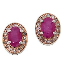 Colleen Lopez Sterling Silver Ruby and Pink Diamond Stud Earrings