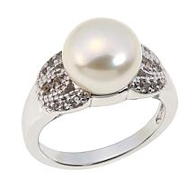 Colleen Lopez Cultured Pearl and White Topaz Sterling Silver Ring