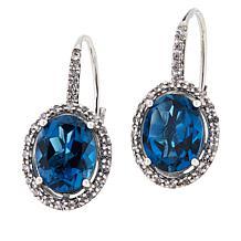 Colleen Lopez London Blue Topaz & White Zircon Leverback Drop Earrings