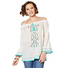aa4b58c84b7 Colleen Lopez Off-Shoulder Embroidered Peasant Blouse