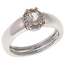 Colleen Lopez Oval Gemstone and White Zircon Sterling Silver Ring