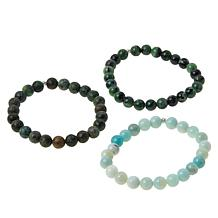 Colleen Lopez Set of 3 Gemstone Bead Stretch Bracelets