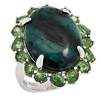 Colleen Lopez Sterling Silver Emerald and Demantoid Garnet Ring