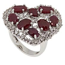 Colleen Lopez Sterling Silver Indian Ruby and White Zircon Heart Ring