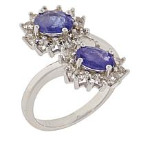Colleen Lopez Sterling Silver Tanzanite and White Zircon Bypass Ring