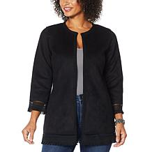 Colleen Lopez Sueded Topper Jacket with Fringe Detail