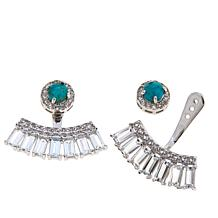 Colleen Lopez Turquoise and White Topaz Earring Jackets