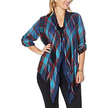 Colleen Lopez Woven Plaid Roll-Tab Sleeve Topper