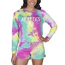 Concepts Sport MLB Velodrome Ladies LS Top and Short Set - Athletics
