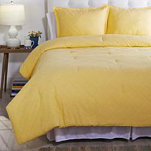 Concierge Collection 3-piece Diamond Clip Jacquard Comforter Set