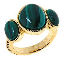 Connie Craig Carroll Jewelry Leigh Malachite Three-Stone Rope Ring