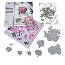 Crafter's Companion Peony Floral Decoupage Toppers, Stamps and Die Set