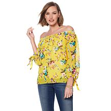 Daisy Fuentes Printed Off-Shoulder Woven Blouse