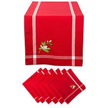 Design Imports Embroidered Mistletoe Corner Table Set
