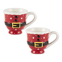 Design Imports Set of 2 Santa Belt Short Ceramic Mugs