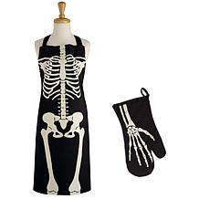 Design Imports Skeleton Apron & Oven Mitt Set