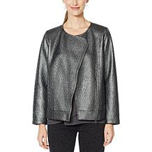 DG2 by Diane Gilman Bonded Faux Leather and Ponte Jacket