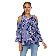 DG2 by Diane Gilman Cold-Shoulder Floral Blouse