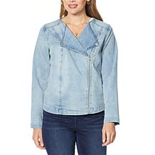 DG2 by Diane Gilman Collarless Stretch Denim Moto Jacket