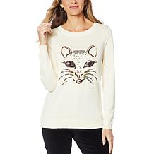 DG2 by Diane Gilman Embellished Kitty Sweater
