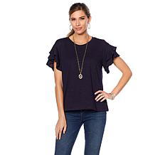 DG2 by Diane Gilman Ruffle-Sleeve Slub Top