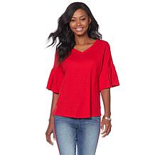 DG2 by Diane Gilman Ruffle-Sleeve V-Neck Top