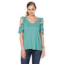 DG2 by Diane Gilman Slub Cold-Shoulder Ruffle Top