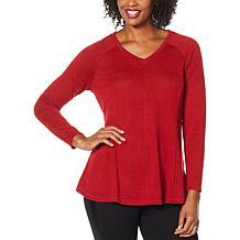 DG2 by Diane Gilman V-Neck Raglan Pullover Sweater