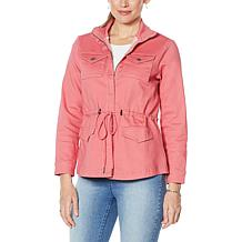 DG2 by Diane Gilman Virtual Stretch Denim Zip-Front Anorak Jacket