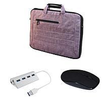 "Digital Basics 17"" 2-in-1 Laptop Bag with Mouse & USB Hub"