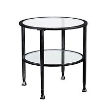 Dina Metal/Glass Round End Table - Black